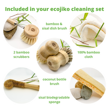 Load image into Gallery viewer, bamboo wood dish brush and two bamboo eco pot scrubbers and coconut bamboo bottle brush and cellulose sisal sponge and bamboo cloth all included in the eco ecojiko dish brush cleaning set