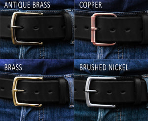 Genuine leather belt for men black custom belt buckle options