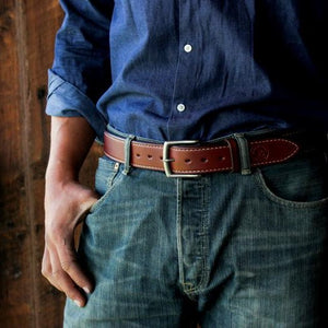 50 Year Double Full Grain Cowhide Belt (Mahogany)