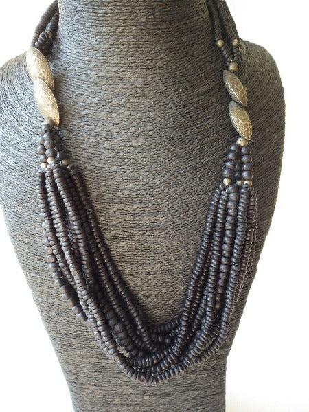 Vintage Monies Gerda Lynggaard Multi strand Black Bead Horn Necklace