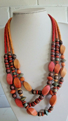 Monies Gerda Lynggaard CArved Wood & Horn Multi Strand Orange Necklace