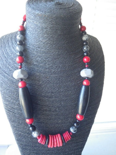 Monies Gerda Lynggaard Horn & Black Wood Beaded Necklace