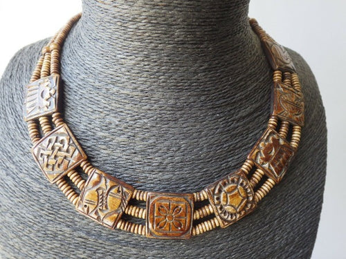 Antique Native Carved Horn Seed Choker Necklace with Fish Motif