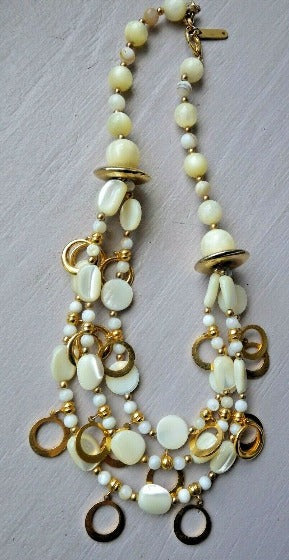 "Vintage Designer Statement Moth of Pearl & Gold Necklace by ""Pineapple's"""