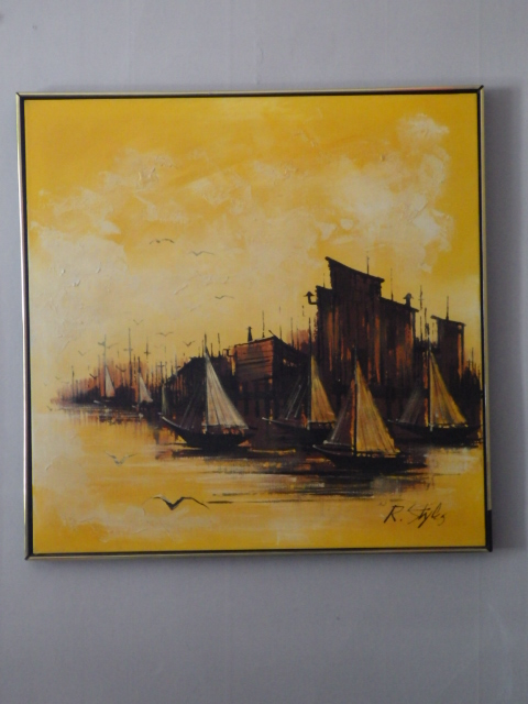 R Styles Brutalist Oil on Canvas Tall Ships
