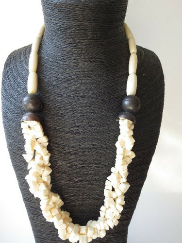 Monies Gerda Lynggaard Cream Carved Chunky Horn Necklace