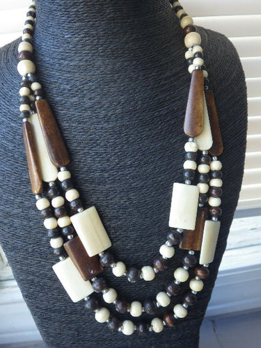 Tribal Monies Gerda Lynggaard Horn Beaded Statement Necklace