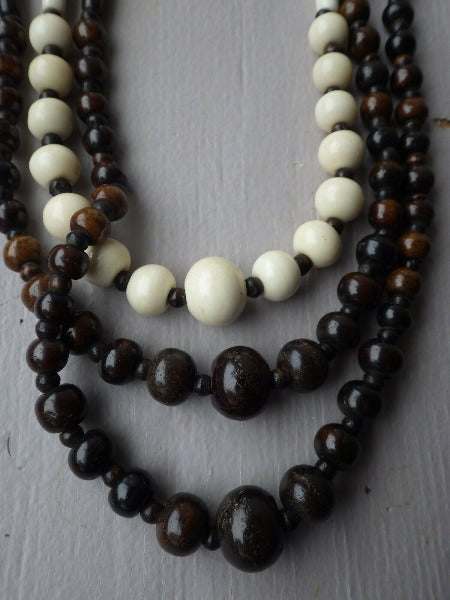 Tribal Native Triple Strand Horn Beaded Statement Necklace