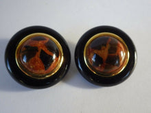 Load image into Gallery viewer, Cecilia Bringheli Designer Faux Leopard Print Button Clip on Earrings