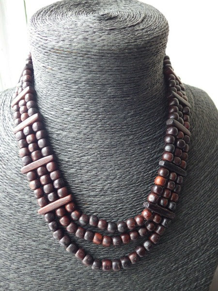 Solid Hardwood Monies Triple Strand Beaded Necklace Choker