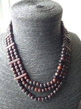 Load image into Gallery viewer, Solid Hardwood Monies Triple Strand Beaded Necklace Choker