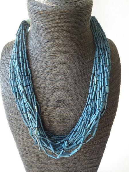 Multi Strand blue Quill Beaded Wood Necklace