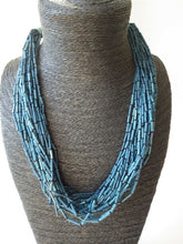 Load image into Gallery viewer, Multi Strand blue Quill Beaded Wood Necklace