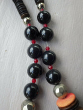 Load image into Gallery viewer, Monies Gerda Lynggaard Red Dyed Horn & Wood Strand Necklace