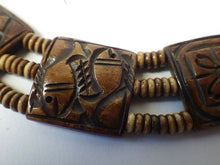 Load image into Gallery viewer, Antique Native Carved Horn Seed Choker Necklace with Fish Motif