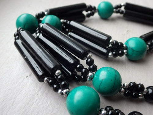 Statement Dyed Turquoise Horn & Black Lucite Heart Pendant Tassel Necklace