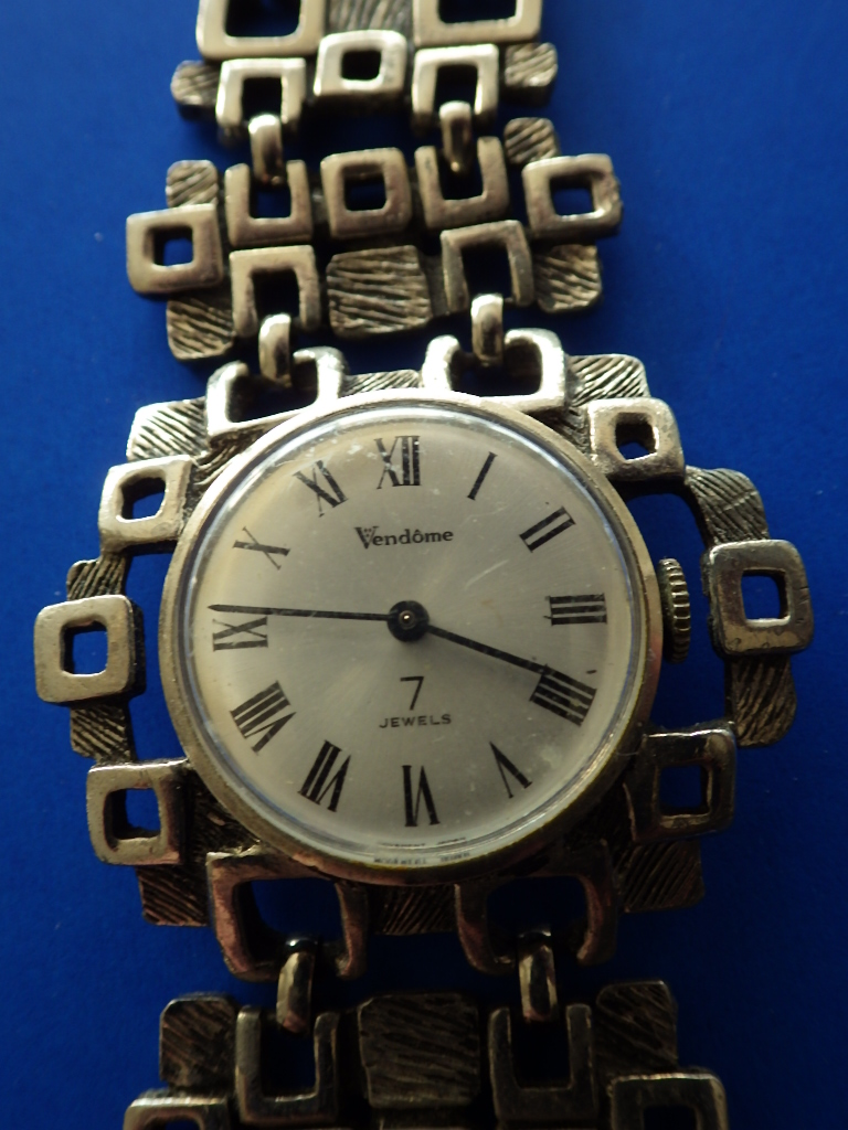 Modernist Vendome Pewter Wind Up Watch