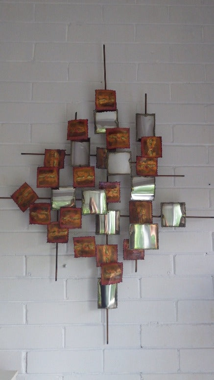 Brutalist Metal Brass & Chrome Square Wall Sculpture