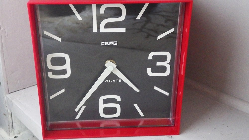 "Mod ""The Cube"" Red & Black Plastic Clock by Newgate"