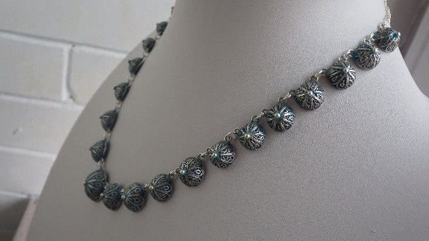 ANTIQUE STERLING SILVER ENAMELED 1910 NECKLACE CHOKER