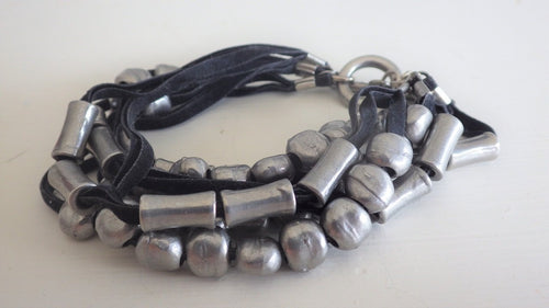 Pewter Bead Suede Strapped Bracelet by KEIN