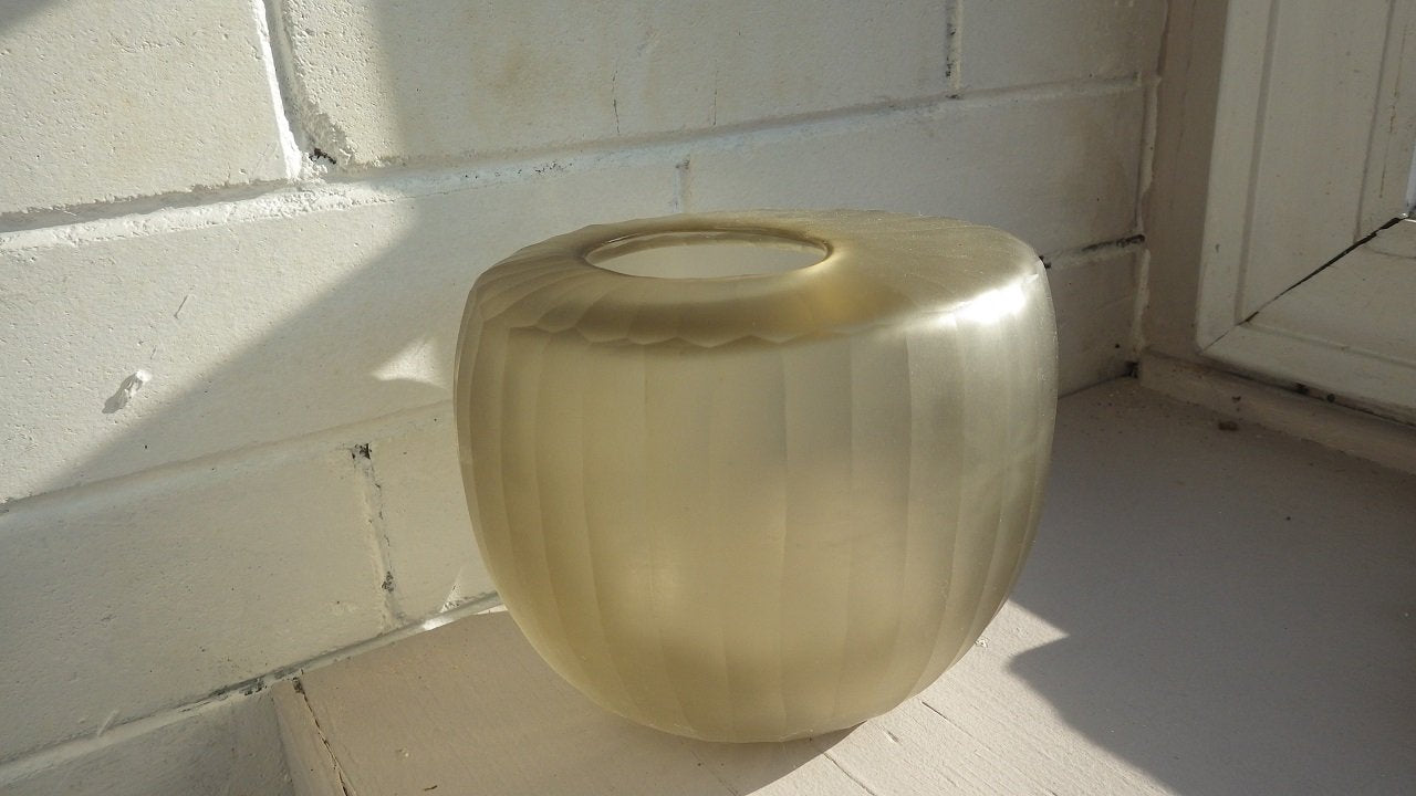 European Smoked Light Green Vertical Ribbed Vase