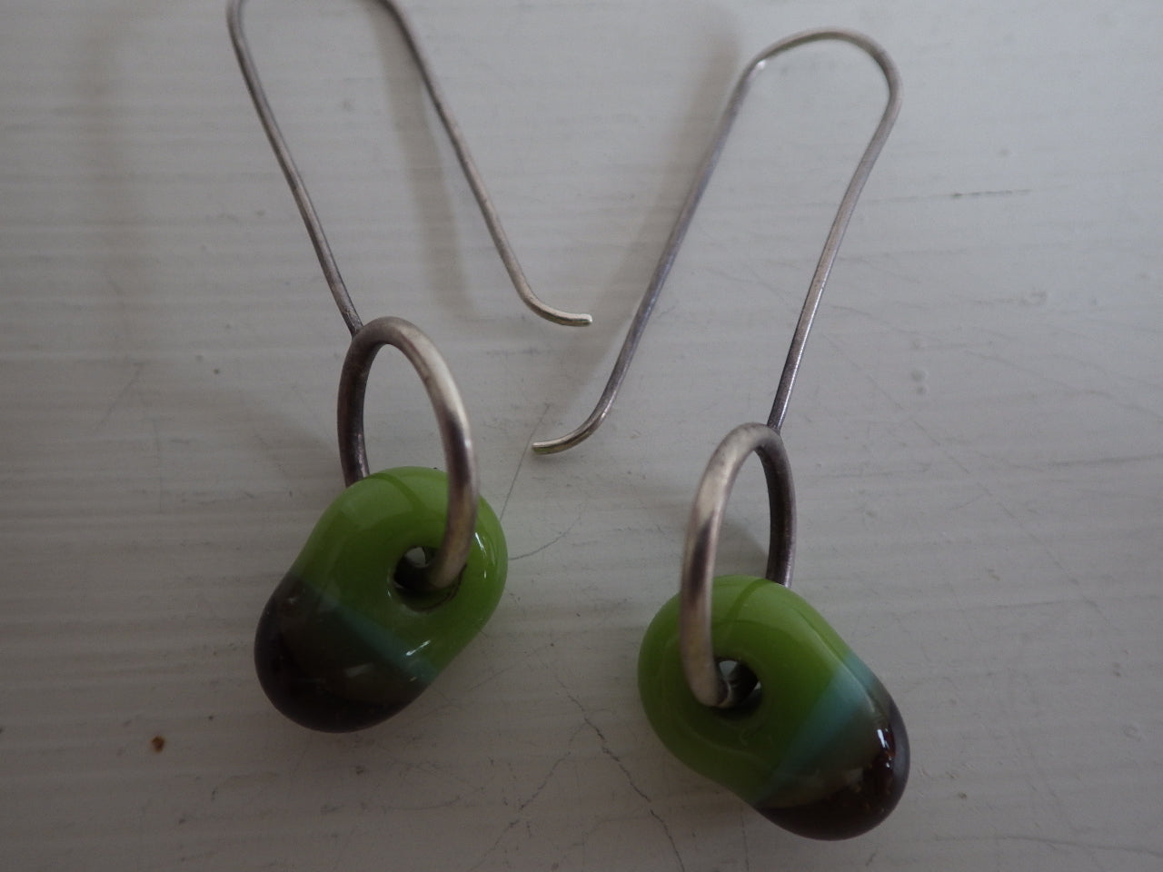 MODERNIST STERLING SILVER MURANO GLASS DESIGNER EARRINGS