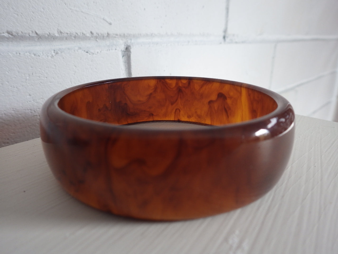 VINTAGE GENUINE AMBER BAKELITE BANGLE BRACELET