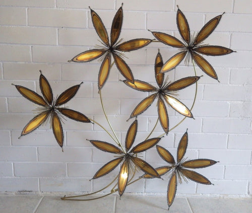 C Jere Style 1960's Atomic Metal Floral Wall Sculpture
