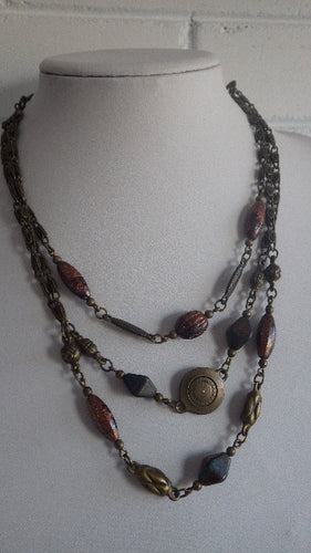 MODERNIST PEWTER & GEMSTONE NECKLACE BY MYKA CANADIAN DESIGNER