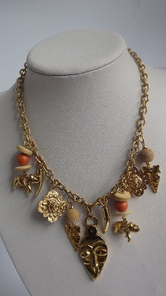 VINTAGE ASIAN INFLUENCE ELEPHANT, LION HEAD, FACE GOLD TONE QUALITY NECKLACE