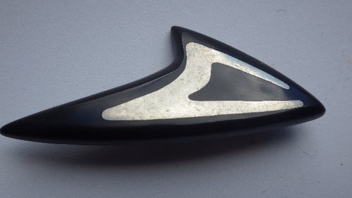 MODERNIST STERLING SILVER INLAY HANS HANSON BROOCH SCANDINAVIAN DESIGNER