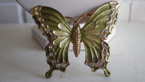 GREEN ENAMEL & RHINESTONE BUTTERFLY BROOCH PIN