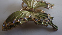 Load image into Gallery viewer, GREEN ENAMEL & RHINESTONE BUTTERFLY BROOCH PIN