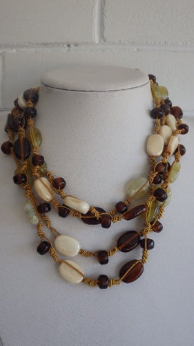 GEMSTONE AMBER CRYSTAL TIED MULTI STRAND NECKLACE CHOKER