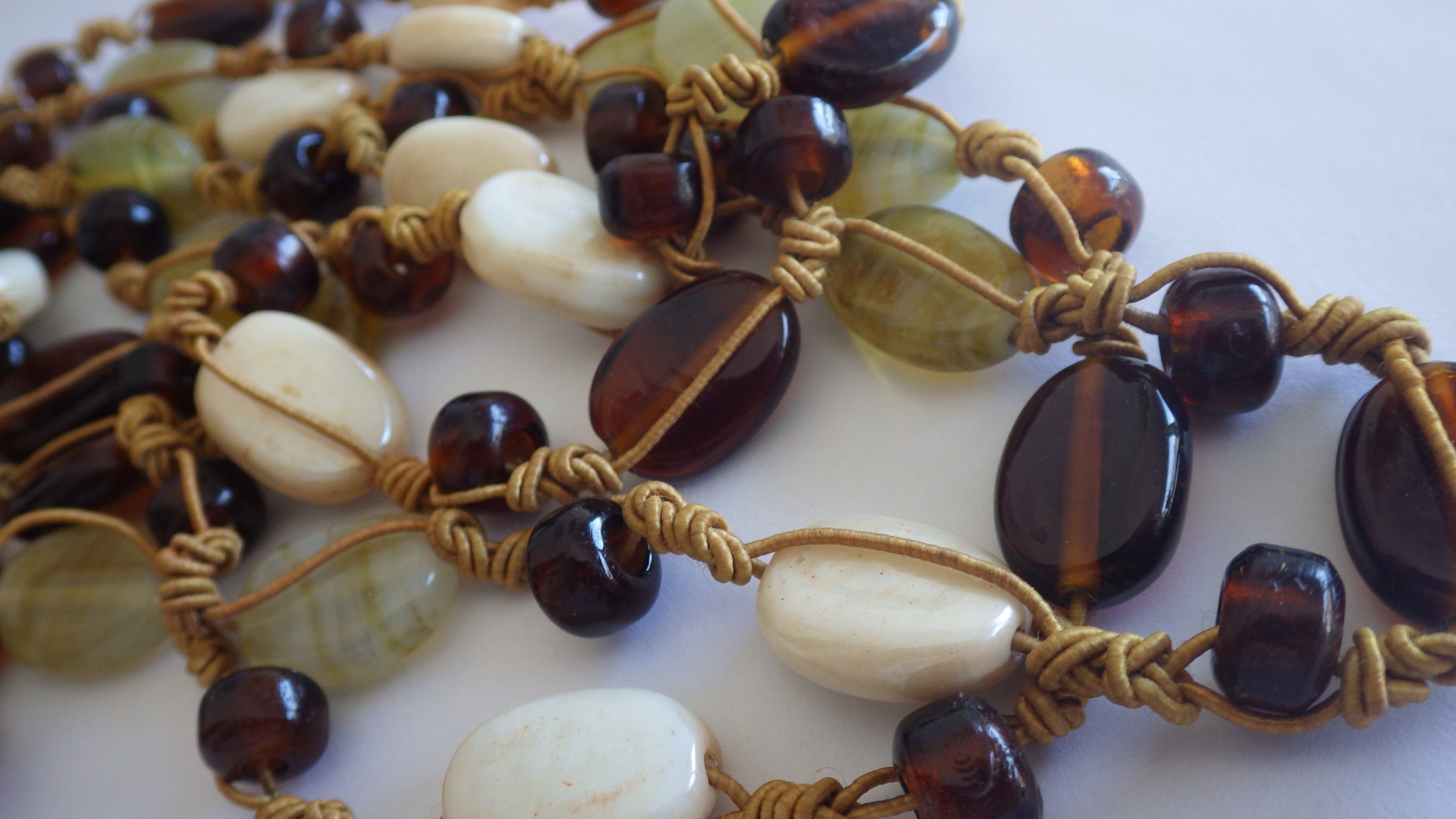 VINTAGE GEMSTONE AMBER CRYSTAL TIED MULTI STRAND NECKLACE CHOKER