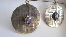 Load image into Gallery viewer, Vintage Danish 925 Sterling Silver Celtic Amethyst Earrings