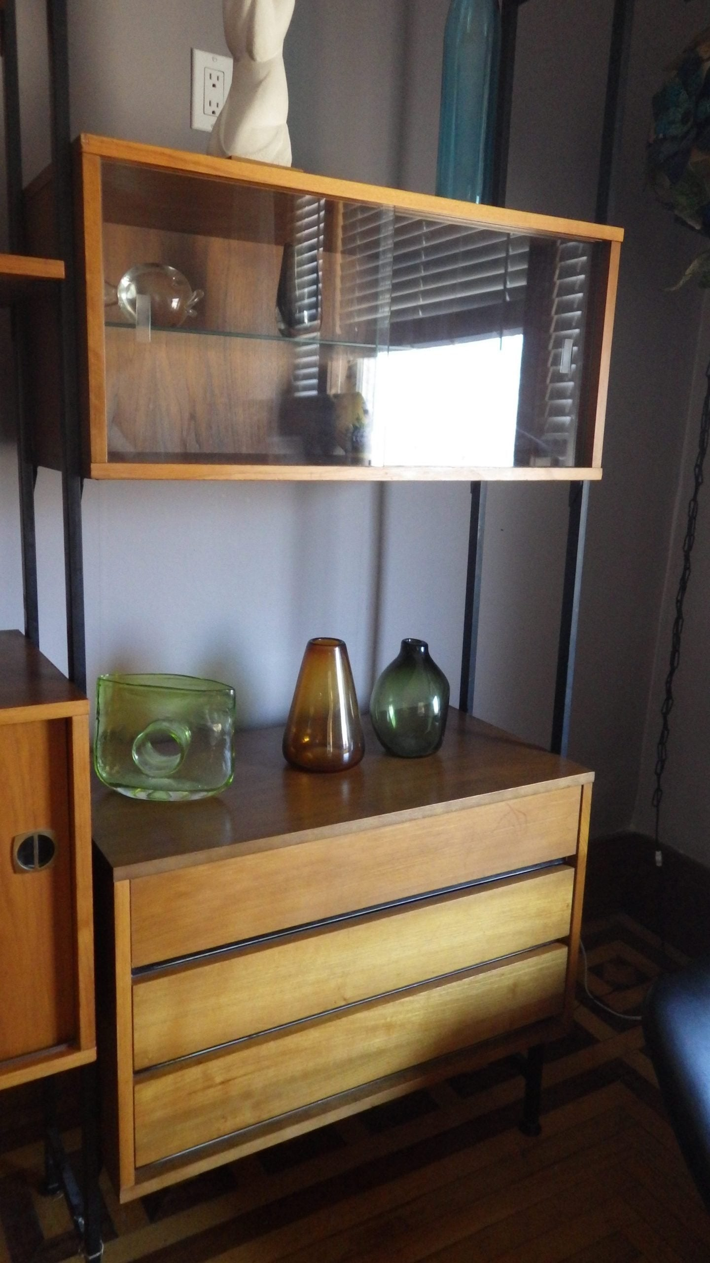 Freestanding Teak Wall Unit Signed Maurer Furniture