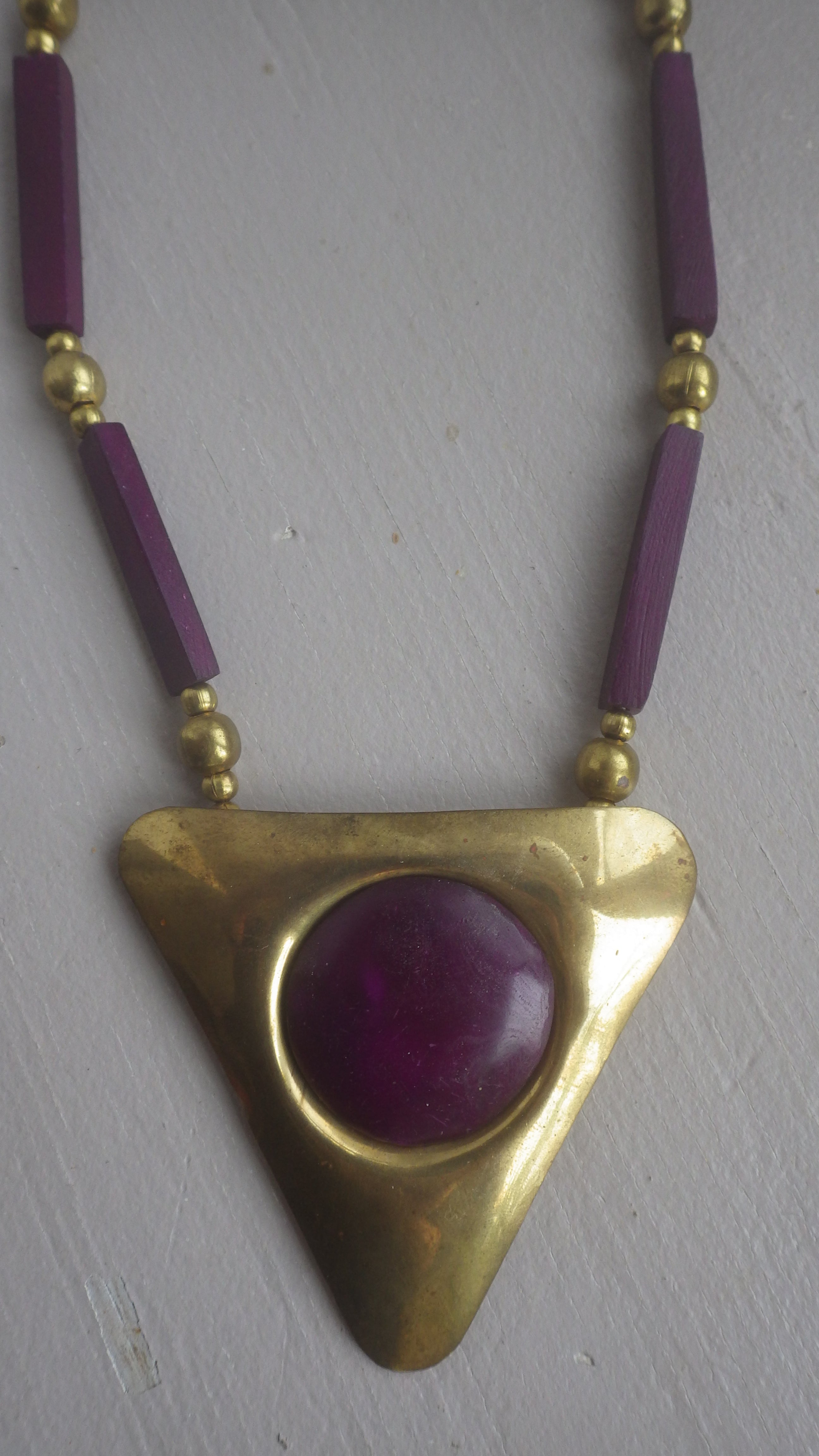 VINTAGE BRASS & BURGUNDY PURPLE PENDANT SCANDINAVIAN MONIES
