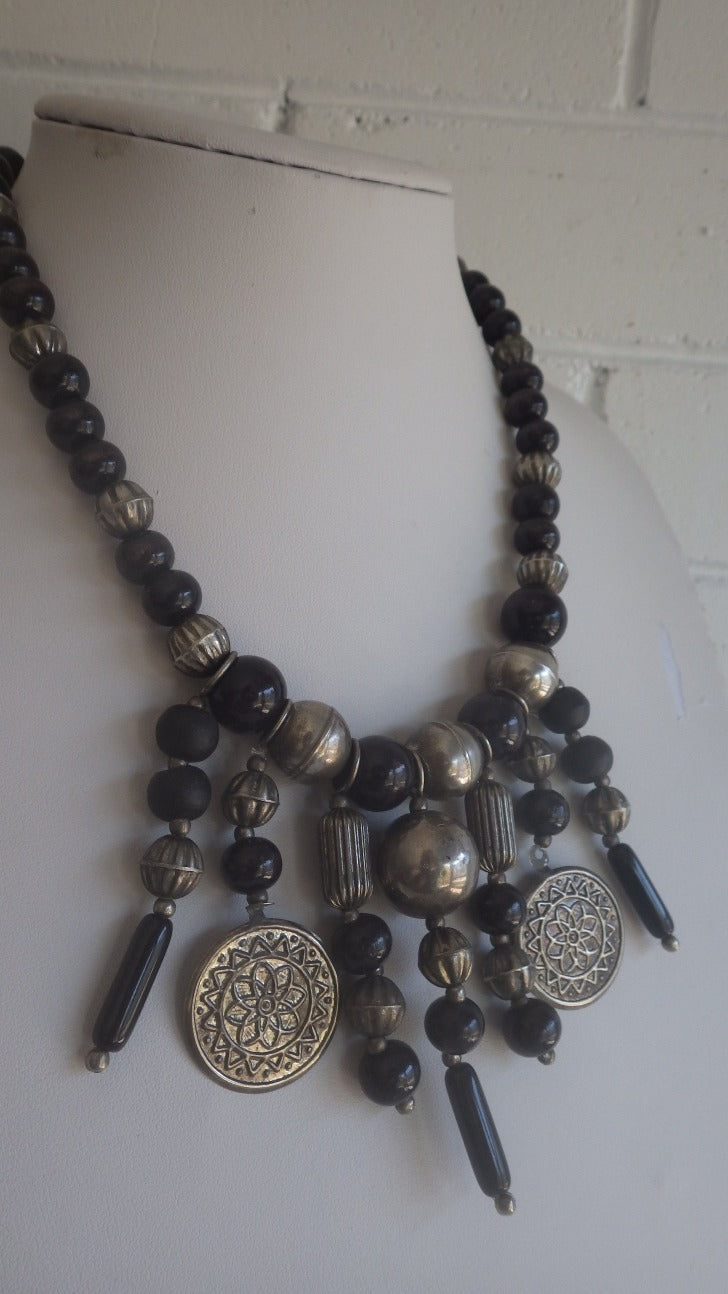 VINTAGE MONIES GERDA LYNGGAARD DYED BLACK WOOD BEAD COIN NECKLACE