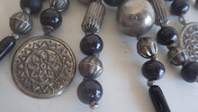 Load image into Gallery viewer, VINTAGE MONIES GERDA LYNGGAARD DYED BLACK WOOD BEAD COIN NECKLACE