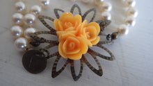 Load image into Gallery viewer, SIGNED VICTORIAN FAUX PEARL FLORAL STARBURST BRACELET