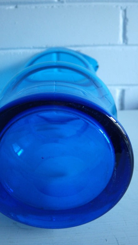 1960's Mid Century Scandinavian Blue Glass Decanter Vessel