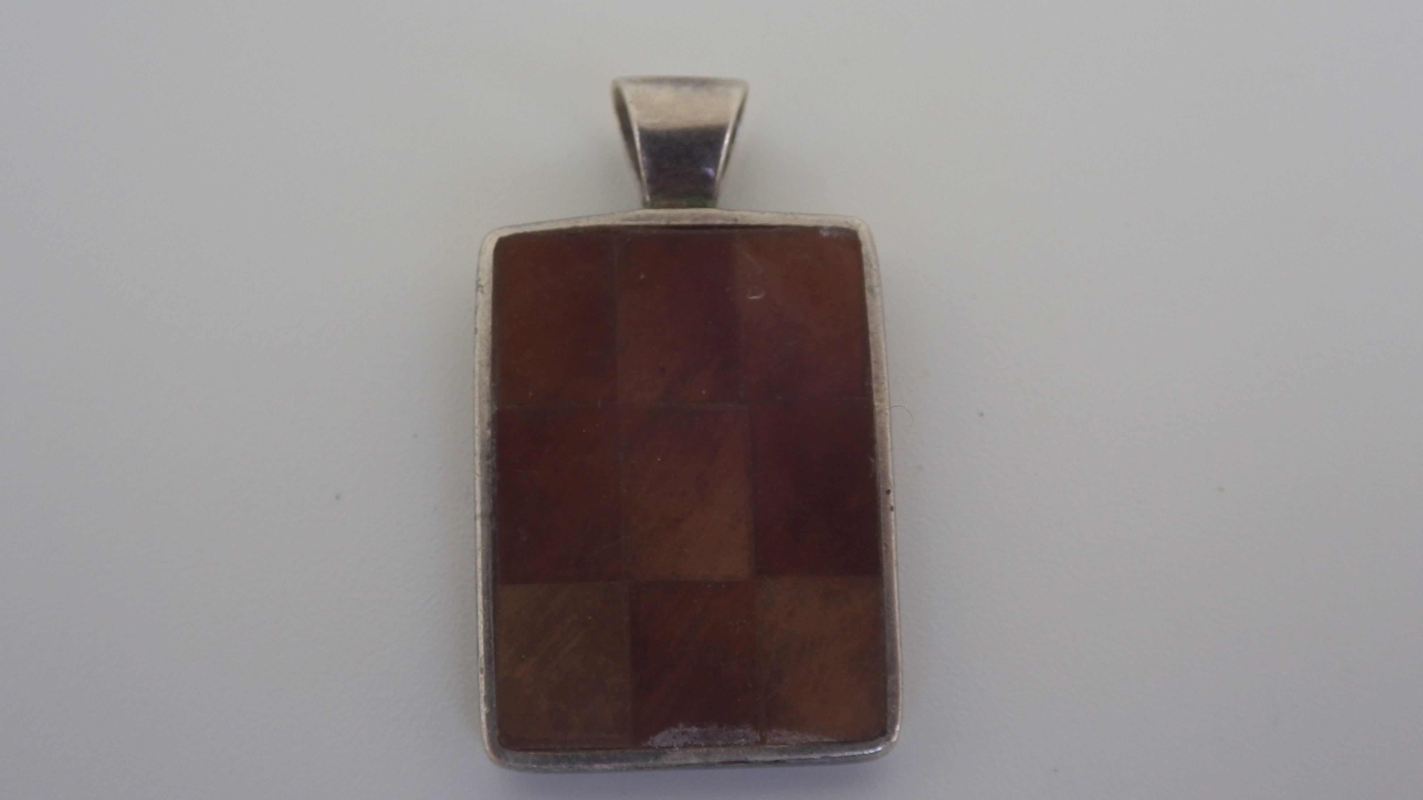 Vintage Raw Amber Sterling Silver Checkerboard Pendant