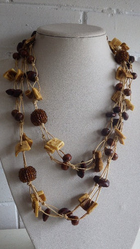 VINTAGE MONIES TIED HORN & WOOD CHUNKS SEED BALLS NECKLACE SCANDINAVIAN