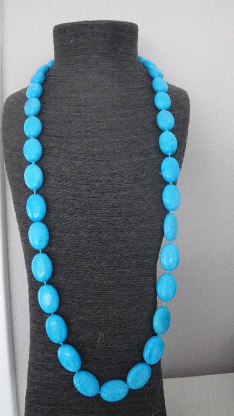 TURQUOISE GEMSTONE BEAD NECKLACE STRAND STERLING SILVER