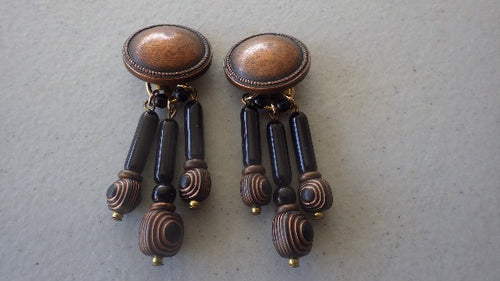 ITALY DESIGNER CECILIA BRINGHELI LUCITE WOOD DANGLE CLIP ON EARRINGS