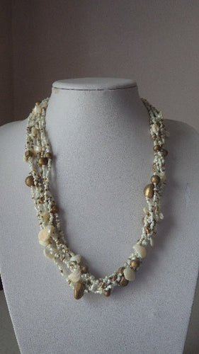 VINTAGE SEED BEAD WOOD AND SHELL MULTI STRAND NECKLACE