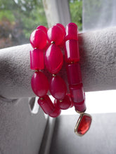 Load image into Gallery viewer, VINTAGE CHICO'S RED LUCITE TRIPLE STRAND BRACELET