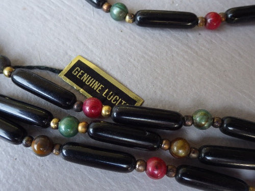 TRIPLE STRAND NEW OLD STOCK GENUINE LUCITE NECKLACE